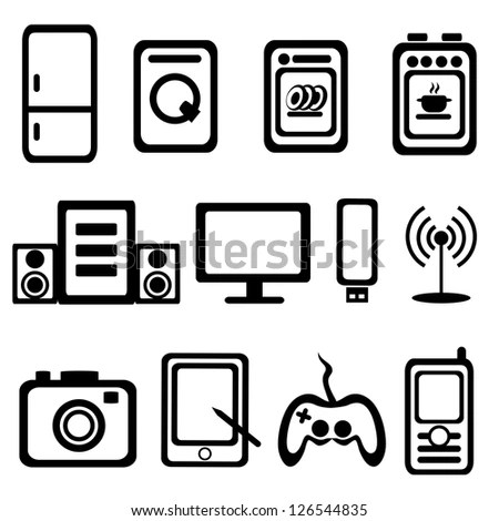 Electric Goods Household Appliance Icons Set Stock Vector