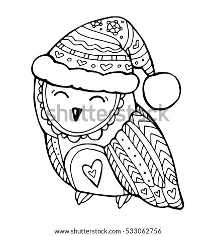 Owl Hat Christmas Coloring Pages Coloring Pages