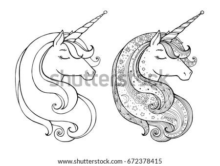 Unicorns Isolated Magical Animal Vector Artwork Stock
