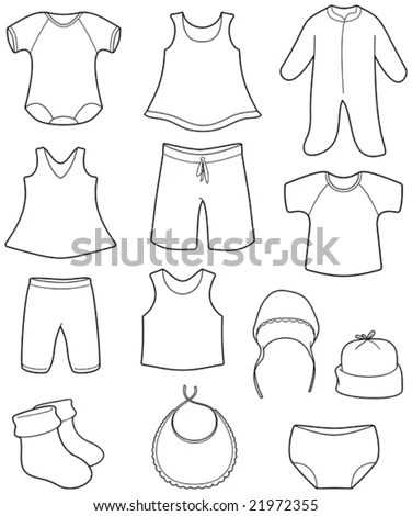 Baby Clothes Vector Color Illustration Stock Vector