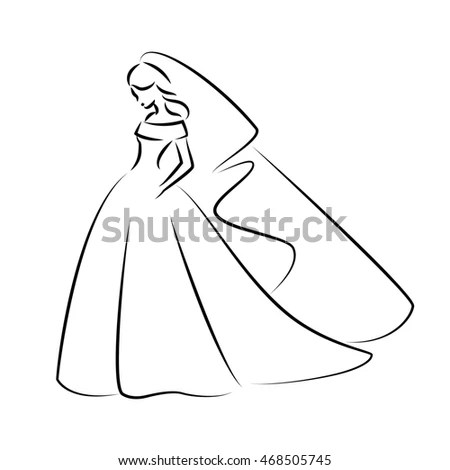 Abstract Outline Illustration Young Elegant Bride Stock