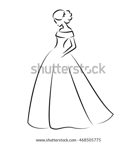 Sketch Elegant Bride White Wedding Dress Stock
