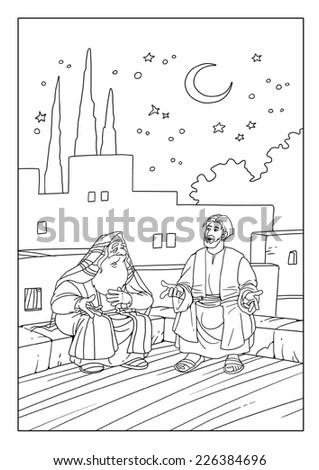 Rabbi Nicodemus talks with Jesus Christ on the new birth