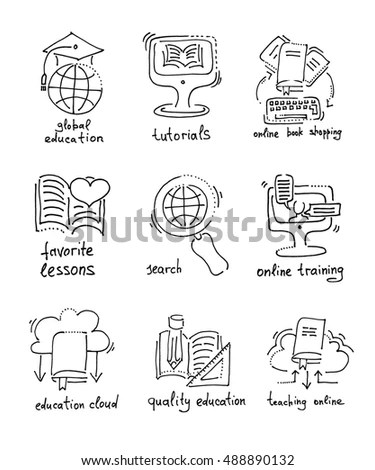 Vector Online Education Icons Set Stock Vector 178257779