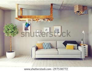 strange upside down interior living 3d concept shutterstock vectors royalty victor portfolio