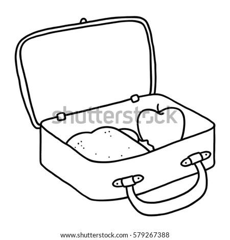 Open Lunch Box Outline Illustration Stock Illustration