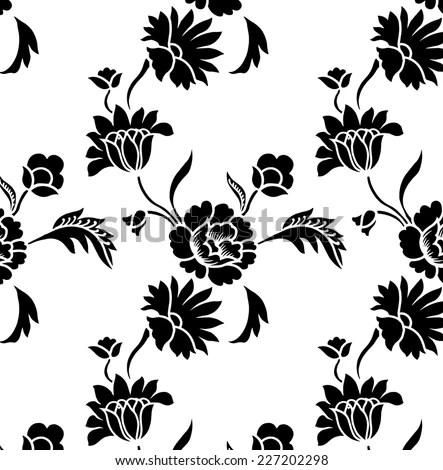 Beautiful Black Background Designs Flowers Flowing Stock