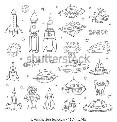 Vector Set Black White Cartoon Space Stock Vector
