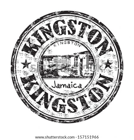 Black grunge rubber stamp with the name of Kingston city