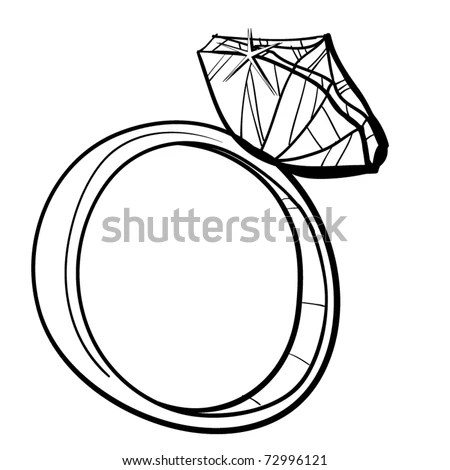 Expensive Ring Diamond Childrens Sketch Ring Stock Vector