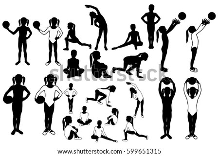 Toddler Girl Silhouettes Sports Postures Vector Stock