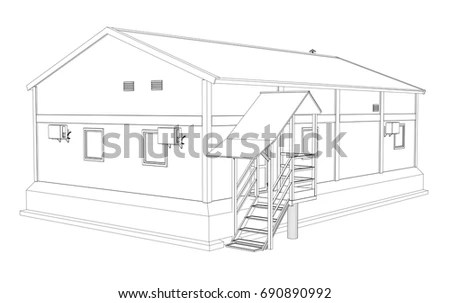 Hand Drawn Sketchy Scandinavian House Freehand Stock