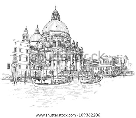 Venice View On Grand Canal Academia Stock Illustration