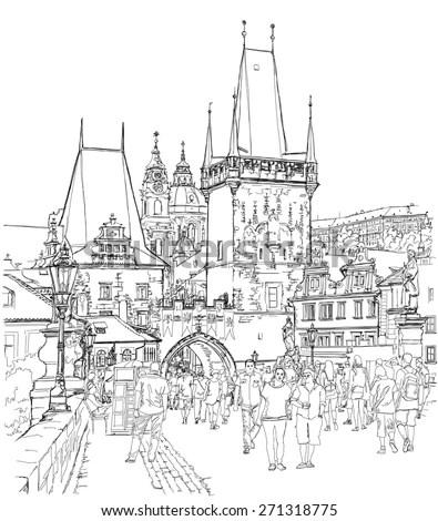 Charles Bridge Prague Czech Republic Stock Vector