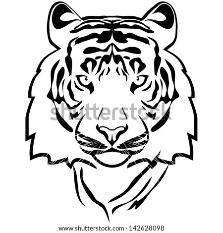 Tiger Outline Vector Stock Vector (Royalty Free) 142628098