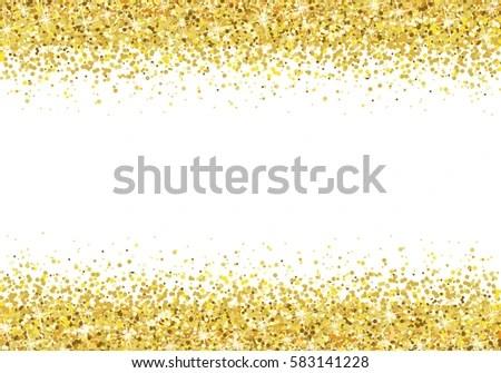 Gold Glitter Frame On White Background Stock Vector
