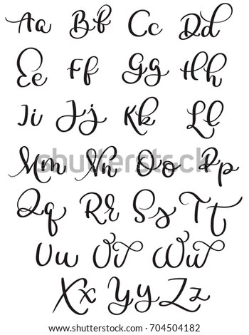 Vector Hand Drawn Calligraphic Alphabet Based Stock Vector
