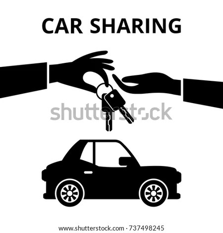 Car Sharing Vector Icon Collaborative Consumption Stock