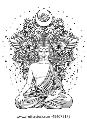 Sitting Buddha Statue Over Ornate Mandala Stock Vector