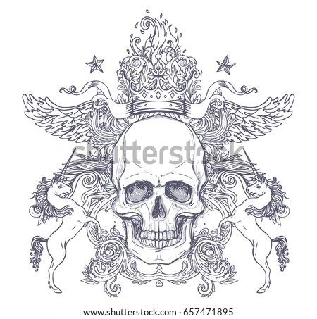 Gothic Coat Arms Skull Vintage Label Stock Vector