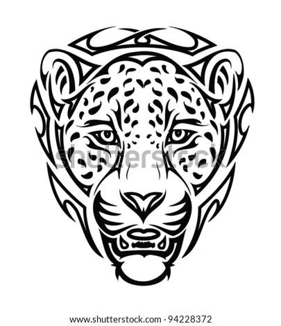 Tribal Jaguar Head Tattoo Vector Illustration Stock Vector