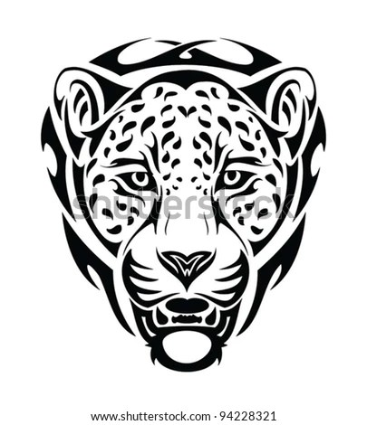 Jaguar Tribal Head Isolated Tattoo Stock Vector 94228321