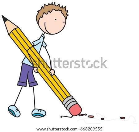 Cartoon Illustration Boy Holding Big Pencil Stock Vector