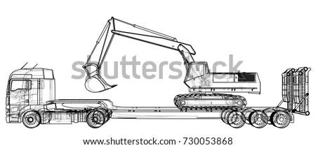 Low Bed Truck Trailer Excavator Abstract Stock Vector