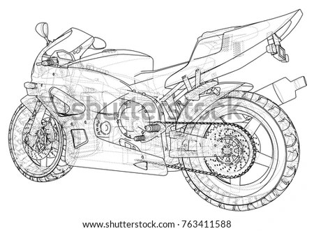 Sport Motorcycle Technical Wireframe Eps10 Format Stock