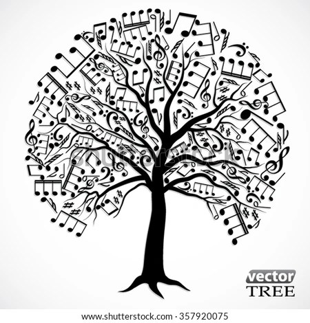 Silhouette Tree Music Notes Vector Illustration Stock