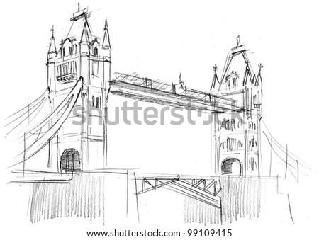 Pencil Drawing London Bridge Stock Photo (Royalty Free