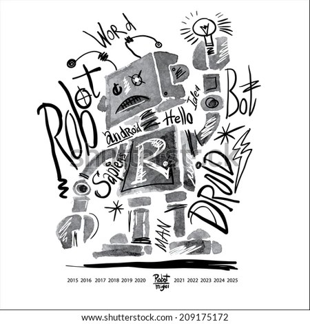 Poster Watercolor Robot Lettering Graphics Tshirt Stock