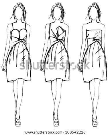 Sketch Fashion Girl Party Dress Stock Vector 108542228