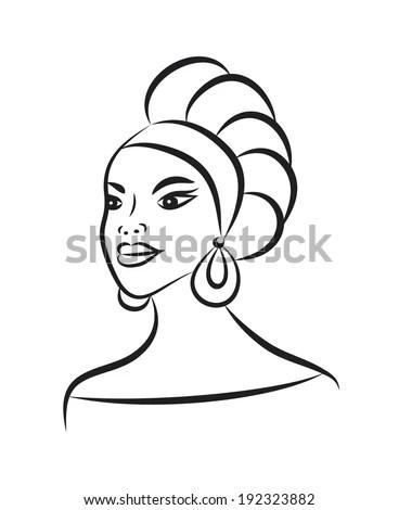 Beautiful Female Face Hat Black Silhouette Stock Vector