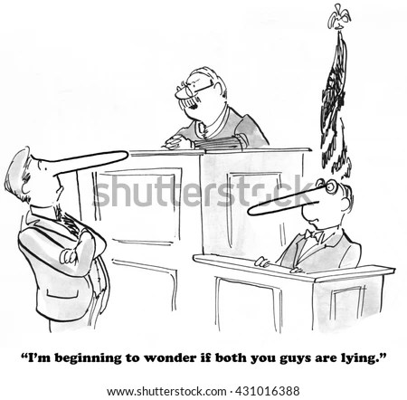 Legal Cartoon About Judge Who Thinks Stock Illustration