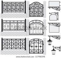 Set Iron Wrought Fences Gates Signboards Stock Vector ...