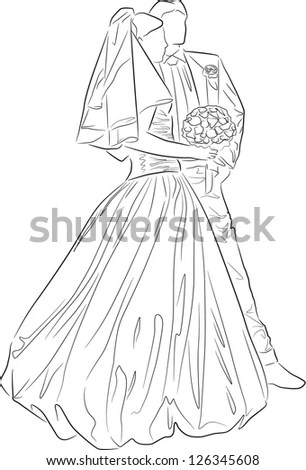 Bride Groom Outline Vector Stock Vector 126345608