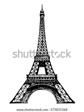 Eiffel Tower Paris Vector Illustration Hand Stock Vector