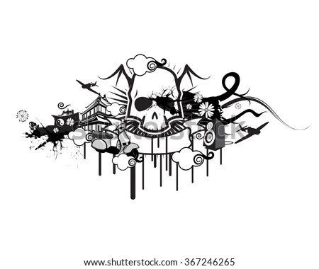 Vector Gothic Skull Design Ornaments Stock Vector