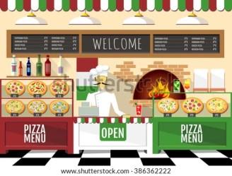pizzeria pizza restaurant interior background flat shutterstock vector cardboard box
