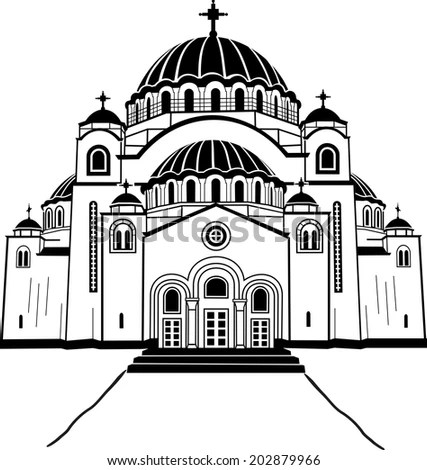 Travel Berlin Icon Dome Cathedral One Stock Vector
