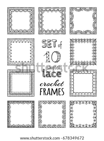 Vector Lace Crochet Background Handmade Ornate Stock
