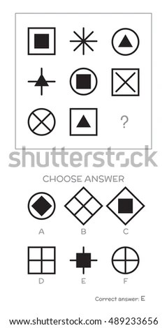 Iq Test Choose Correct Answer Logical Stock Vector