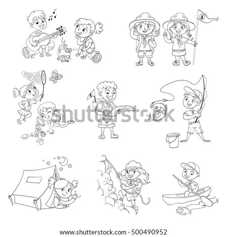 Cartoon Scouts Tent Stock Images, Royalty-Free Images