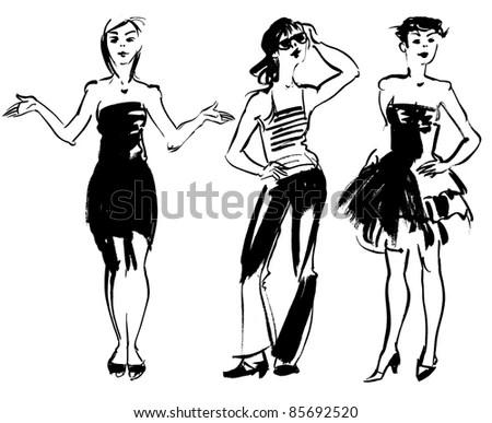 Flapper Girl Retro Party Invitation Design Stock Vector
