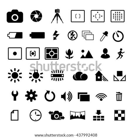 Camera Options Symbols Settings Parameters Vector Stock