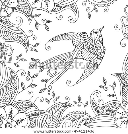 Coloring Page Beautiful Flying Bird Floral Stock Vector