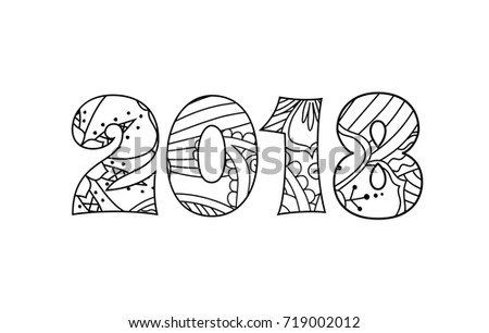 Numbers 2018 Zentangle Inspired Style Isolated Stock
