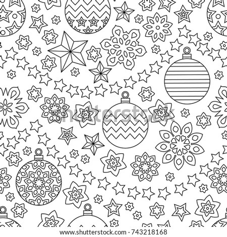 New Year Hand Drawn Outline Festive Stock Vector 743218168