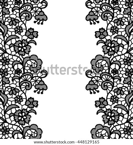Seamless Lace Border Vector Illustration White Stock